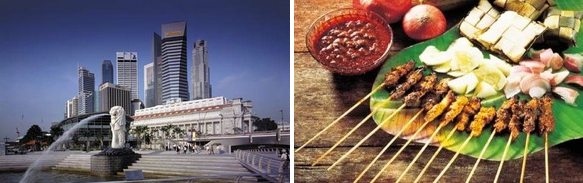 The Merlion and famous singaporean food